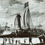 Simons Stevins Segelwagen am Strand von Den Haag (s'Gravenhage)
