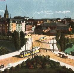 Die Tram war in den großen Städten scheinbar allgegenwärtig: Ausschnitt aus einer Kieler Postkarte von 1920