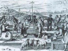 Der niederländische Stich war eine Satire auf die politischen Verhältnisse im Norden. Er zeigt Christian IV. und (wahrscheinlich) den schwedischen Kanzler Axel Oxenstierna beim Würfeln um den Sundzoll