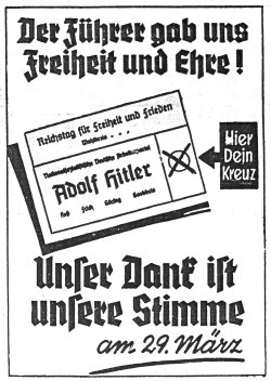 Eine Wahl im Sinne der Auswahl gab es in der Zeit des NS-Regimes nicht mehr. Der in der 'Nordischen Rundschau' veröffentliche Wahlaufruf für die Reichstagswahlen am 29.März 1936 verdeutlicht das