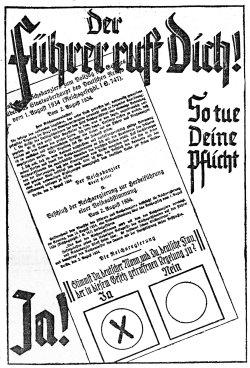 """""""So tue Deine Pflicht"""" hieß es in der 'Nordischen Rundschau' vor der Volksabstimmung vom 19.August 1934, die nach dem Tod Hindenburgs den """"Führer"""" auch die Aufgabe des Reichspräsidenten übertragen sollte"""