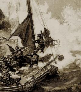 Auf dem Bild von 1890 ist zu sehen, wie die Rettungsleute versuchen, eine Leine zum Havarierten zu schießen