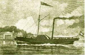 """Die neue Zeit kündigt sich an: seit 1819 pendelte der in Schottland gebaute Dampfer """"Caledonia"""" in nur 16 Stunden von Kiel nach Kopenhagen"""