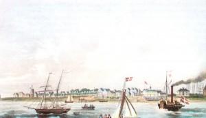 Sommerbetrieb unterm Danebrog vor dem 1819 entstandenen Seebad Wyk auf Föhr