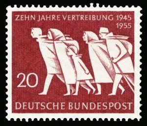Flucht und Vertreibung waren – vor allem in Schleswig-Holstein – zentrale Themen nach dem Kriegsende und deshalb auch Thema einer Briefmarke