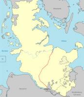 Landkarte mit dem Eisenbahnnetz von 1848 in Schleswig-Holstein